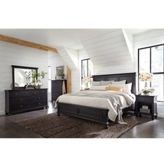 aspenhome Oxford 4 Piece Cal King Panel Bedroom Set in Black with 1 Drawer Nightstand