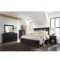 aspenhome Oxford 4 Piece Cal King Panel Bedroom Set with Storage Bed in Black with 1 Drawer Nightstand