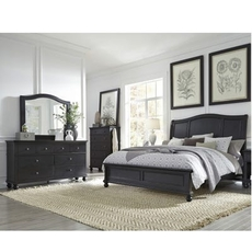 aspenhome Oxford 5 Piece Cal King Bedroom Set in Black with 1 Drawer Nightstand