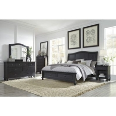 aspenhome Oxford 5 Piece Cal King Bedroom Set with Storage Bed in Black with 2 Drawer Nightstand