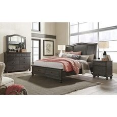 aspenhome Oxford 5 Piece Queen Bedroom Set with Storage Bed in Peppercorn with 2 Drawer Nightstand