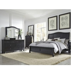 aspenhome Oxford 5 Piece Cal King Bedroom Set with Storage Bed in Black with 1 Drawer Nightstand