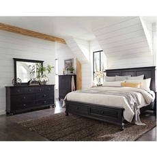 aspenhome Oxford 5 Piece Cal King Panel Bedroom Set with Storage Bed in Black with 2 Drawer Nightstand