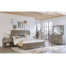 aspenhome Radiata Queen Sleigh Bed 4 Piece Set with 1 Drawer Nightstand