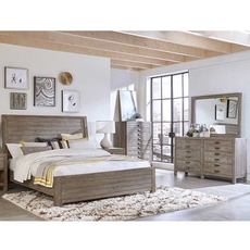 aspenhome Radiata Cal King Sleigh Bed 4 Piece Set with 2 Drawer Nightstand