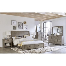 aspenhome Radiata Cal King Sleigh Storage Bed 4 Piece Set with 1 Drawer Nightstand