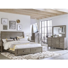 aspenhome Radiata Cal King Sleigh Storage Bed 4 Piece Set with 2 Drawer Nightstand