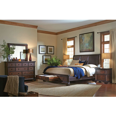 aspenhome Bancroft 4 Piece Bonded Leather Sleigh Storage Bedroom Set with 2nd Nightstand Free