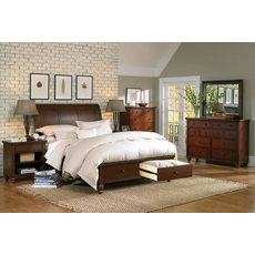 aspenhome Cambridge 5 Piece Sleigh Storage Bedroom Set in Cherry