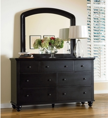aspenhome Cambridge Double Dresser with Mirror in Black
