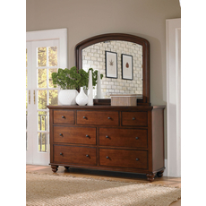 aspenhome Cambridge Double Dresser with Mirror in Brown Cherry