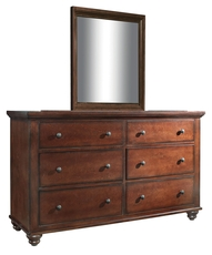 aspenhome Cambridge Kid's Dresser with Mirror in Brown Cherry