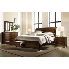 aspenhome Walnut Park 4 Piece Sleigh Storage Bedroom Set with 2nd Nightstand Free