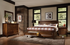 aspenhome Walnut Park Panel Storage Bed