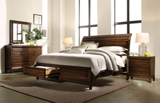 aspenhome Walnut Park Sleigh Storage Bed