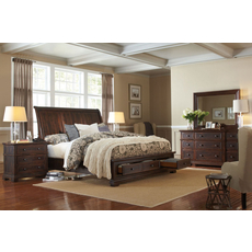 aspenhome Westbrooke 4 Piece Sleigh Storage Bedroom Set with 2nd Nightstand Free