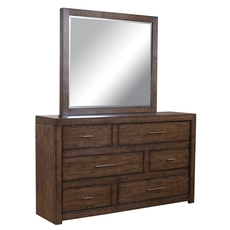 aspenhome Modern Loft 6 Drawer Asymmetrical Dresser in Brown