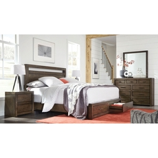 aspenhome Modern Loft Queen Panel Storage Bed in Brownstone