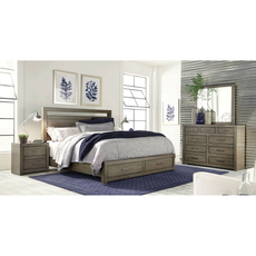 aspenhome Modern Loft Cal King Panel Storage Bed in Greystone