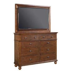 aspenhome Oxford Chesser with TV Frame in Whiskey Brown