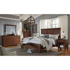 aspenhome Oxford King Panel Bed in Whiskey Brown
