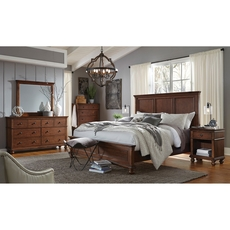 aspenhome Oxford Queen Panel Bed in Whiskey Brown