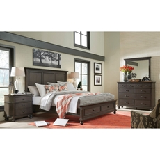 aspenhome Oxford Queen Panel Storage Bed in Peppercorn