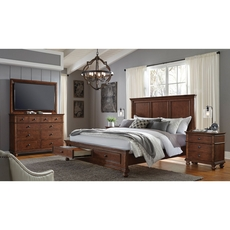 aspenhome Oxford King Panel Storage Bed in Whiskey Brown