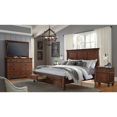 aspenhome Oxford Queen Panel Storage Bed in Whiskey Brown