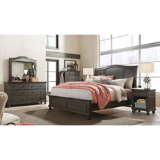 aspenhome Oxford King Sleigh Bed in Peppercorn