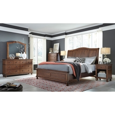aspenhome Oxford King Sleigh Bed in Whiskey Brown