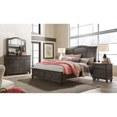 aspenhome Oxford Queen Sleigh Storage Bed in Peppercorn