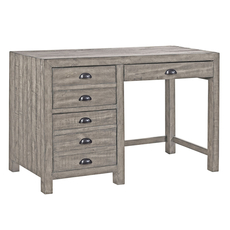 aspenhome Printworks 48 Inch Single Pedestal Desk in Oyster
