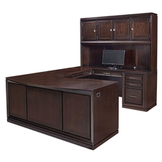 aspenhome Viewscape 72 Inch Executive U Desk with Right Hand Facing Bridge