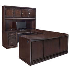 aspenhome Viewscape 72 Inch Executive U Desk with Left Hand Facing Bridge