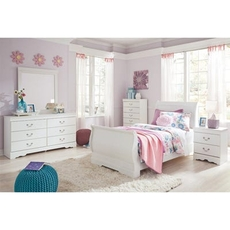 Signature Design by Ashley Anarasia Twin Sleigh 5 Piece Bedroom Set