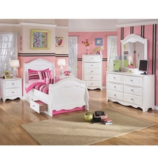 Signature Design by Ashley Exquisite Twin Sleigh 5 Piece Bedroom Set with Underbed Storage