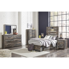 Signature Design by Ashley Drystan Twin Panel 5 Piece Bedroom Set with Underbed Storage