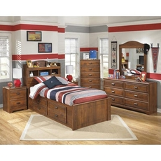 Signature Design by Ashley Barchan Twin Bookcase Storage 5 Piece Bedroom Set