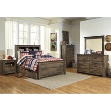 Signature Design by Ashley Trinell Full Panel Bookcase 5 Piece Bedroom Set with Trundle