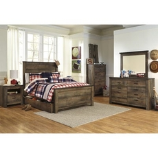 Signature Design by Ashley Trinell Full Panel 5 Piece Bedroom Set with Trundle