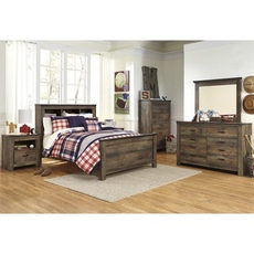 Signature Design by Ashley Trinell Twin Panel Bookcase 5 Piece Bedroom Set