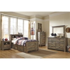 Signature Design by Ashley Trinell Twin Panel Bookcase 5 Piece Bedroom Set with Underbed Storage