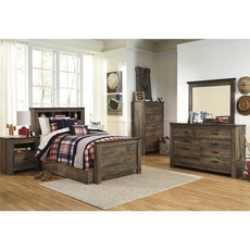 Signature Design by Ashley Trinell Twin Panel Bookcase 5 Piece Bedroom Set with Trundle