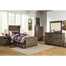 Signature Design by Ashley Trinell Twin Panel 5 Piece Bedroom Set with Trundle