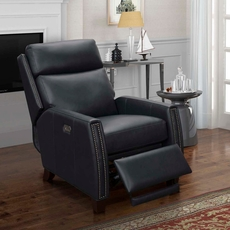 Barcalounger Anaheim Big & Tall Leather Recliner with Power Recline, Power Headrest & Power Lumbar - Shoreham Blue
