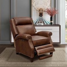 Barcalounger Barrett Leather Recliner with Power Recline and Power Headrest - Worthington Cognac
