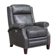 Barcalounger Barrett Leather Recliner with Power Recline and Power Headrest - Wrenn Gray