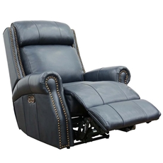 Barcalounger Blair Big & Tall Leather Recliner with Power Recline and Power Headrest - Shoreham Blue