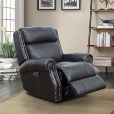 Barcalounger Blair Big & Tall Leather Recliner with Power Recline and Power Headrest - Shoreham Fudge